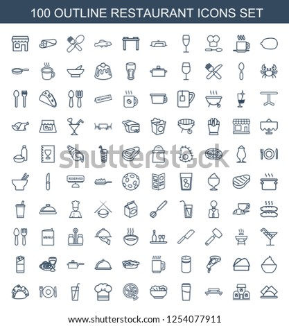 restaurant icons. Trendy 100 restaurant icons. Contain icons such as napkin, building, table, drink, food, pizza, chef hat, plate fork and spoon. restaurant icon for web and mobile.