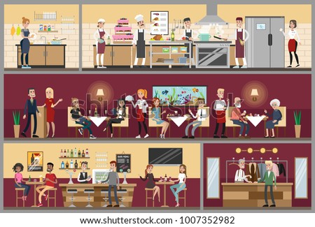 Restaurant interior set with people sitting, kitchen and bar.