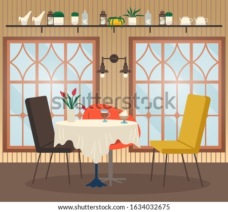 Restaurant interior view table with glass of coffee and dessert, flower decor and empty chairs near big windows and lamp. Cafeteria nobody place with drink and sweet near shelf with cutlery vector