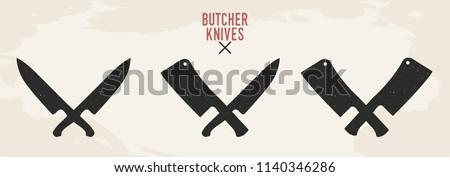 Restaurant knives set. Meat knives. Chef's knife and Meat cleaver isolated on old background. Vintage design. Vector illustration.