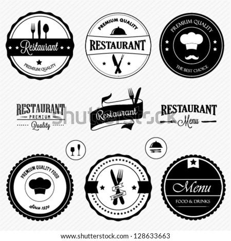 Restaurant labels set - stock vector
