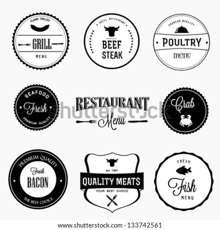 Restaurant labels set
