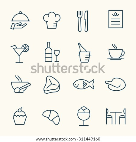 Restaurant line icons - Shutterstock ID 311449160