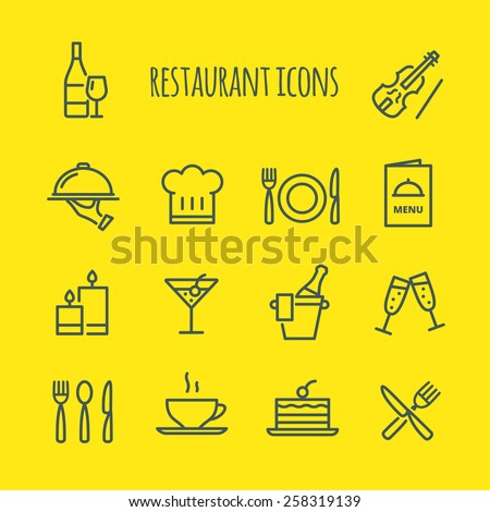 Restaurant Line Icons Set