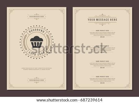 Restaurant logo and menu design vector brochure template. Bakery bread silhouette.