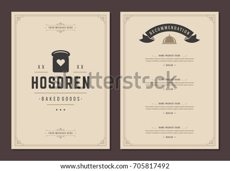 Restaurant logo and menu design vector brochure template. Bakery bread silhouette.