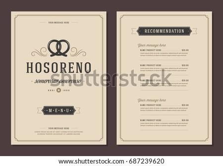 Restaurant logo and menu design vector brochure template. Bakery pretzel silhouette.