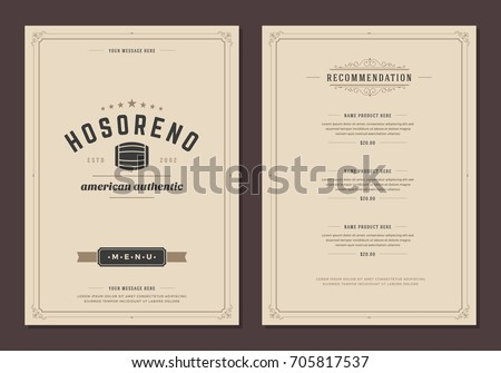 Restaurant logo and menu design vector brochure template. Beer barrel silhouette.
