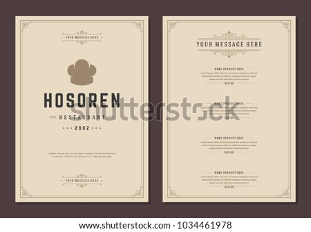 Restaurant logo and menu design vector brochure template. Chef hat silhouette.