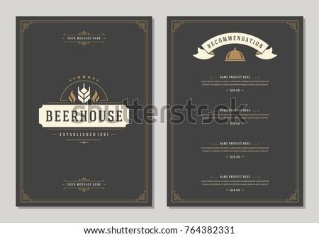 Restaurant logo and menu design vector brochure template. Ear silhouette.