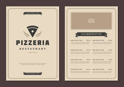 Restaurant logo and menu design vector brochure template. Pizza silhouette.