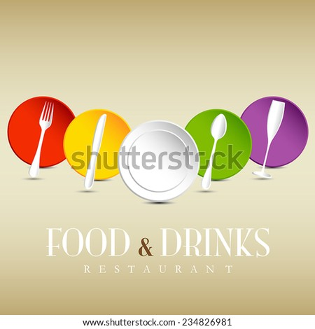 Restaurant logo, colorful dishes menu