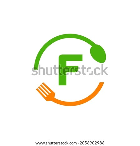 Restaurant Logo Design On Letter F With Spoon And Fork Concept Template. Kitchen Tools, Food Icon. Cooking Logo, Bbq Sign, Grill Fork With F Letter Vector Foto stock ©