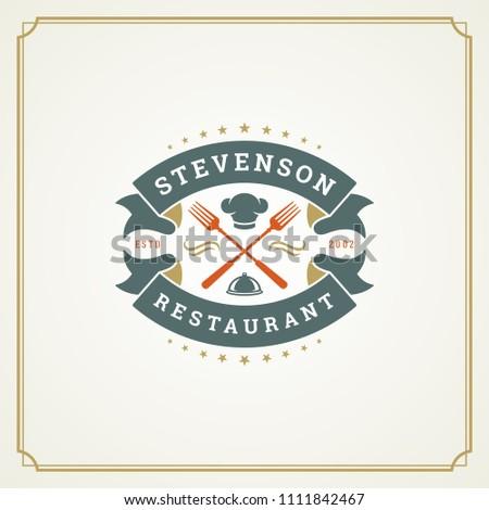 Restaurant logo design vector illustration. Fork silhouette, good for restaurant menu and cafe badge. Vintage typography emblem template.