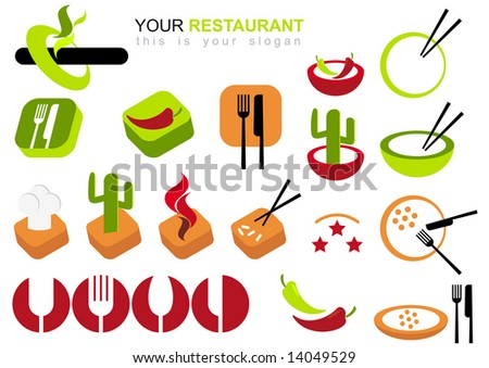restaurant logo set - stock vector