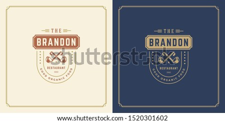 Restaurant logo template vector illustration soup ladles silhouettes, good for restaurant menu and cafe badge. Vintage typography emblem template with decoration and symbols.