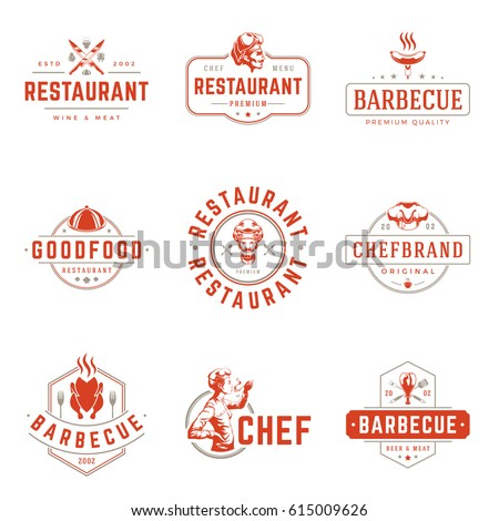 Restaurant logos templates vector objects set. Logotypes or badges Design. Trendy retro style illustration, Chef Woman, Barbecue, Chicken silhouettes.