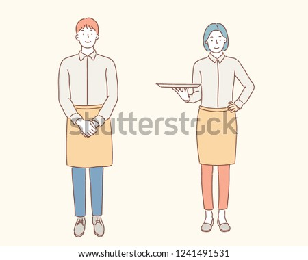 restaurant man and woman staff character. hand drawn style vector design illustrations.