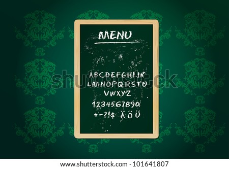 Restaurant menu board, chalk stroked alphabet, plus special characters