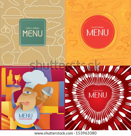 Restaurant Menu, Chef, Food and Drink, Abstract Vector Art