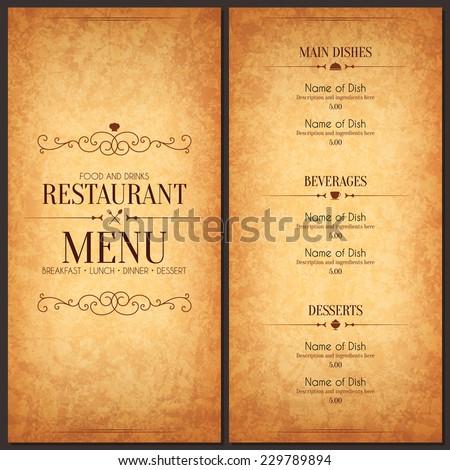 restaurant drink menu template free vector download 17 496 free