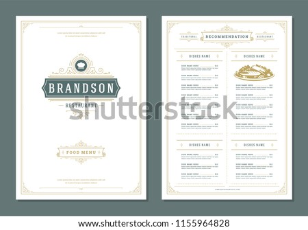 Restaurant menu design and label vector brochure template. Chef hat illustration and ornament decoration.