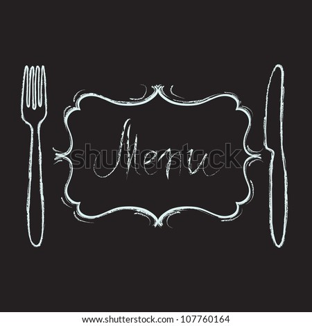 Restaurant menu design Chalk board with hand drawn knife fork curved vintage frame and Menu word Vector illustration