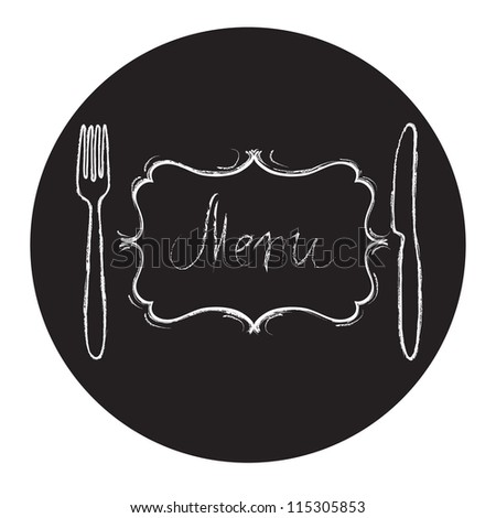 Restaurant menu design. Chalk board with hand drawn knife, fork, curved vintage frame and Menu word. Vector illustration.