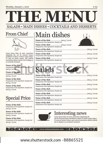 Restaurant menu design. Concept type of old newspaper