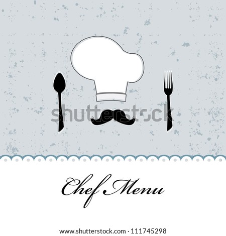 Restaurant menu design / Menu design with chef hat, mustache, spoon and fork