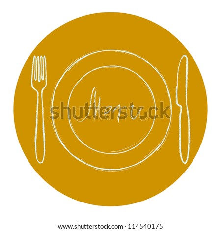 Restaurant menu design. Sandy circle with hand drawn knife, fork, plate and Menu word. Vector illustration. - stock vector