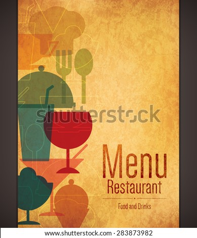 Restaurant menu design. Vector brochure template for cafe, coffee house, restaurant, bar. Food and drinks logotype symbol design. Vintage crumpled paper background