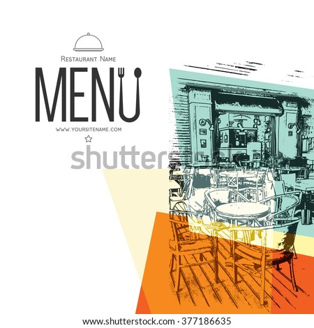 Restaurant menu design. Vector brochure template for cafe, coffee house, restaurant, bar. Food and drinks logotype symbol design. With a sketch pictures