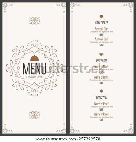 Restaurant menu design. Vector menu brochure template for cafe, coffee house, restaurant, bar. Food and drinks logotype symbol design