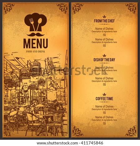 Restaurant menu design vector menu brochure template for for Bar 88 food menu