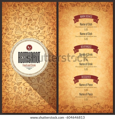 Restaurant menu design. Vector menu brochure template for cafe, coffee house, restaurant, bar. Food and drinks logotype symbol design. With a hand draw icons