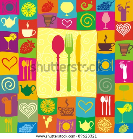Restaurant menu design with cutlery silhouette. Food and drink seamless doodles pattern. Vector illustration