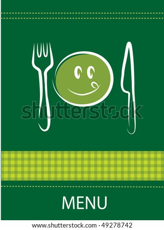 restaurant menu design with happy smiley face, fork and knife