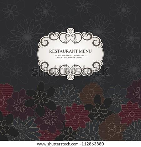 Restaurant menu design, with stylish flower background