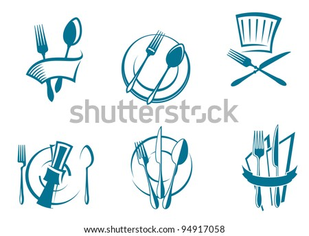 Restaurant menu icons and symbols set for food industry design, such logo. Jpeg version also available in gallery - stock vector