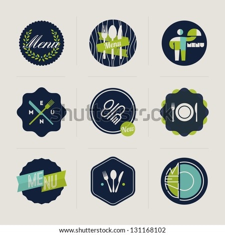 Restaurant menu labels set of vector design elements