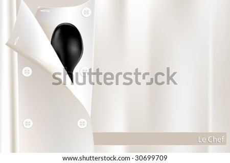 Restaurant menu or brochure cover with white chef uniform and black spoon