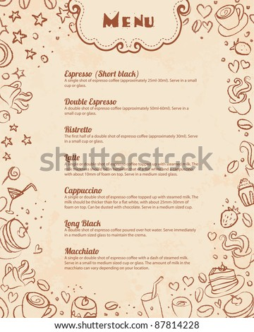 Restaurant menu page template with coffee scribble background
