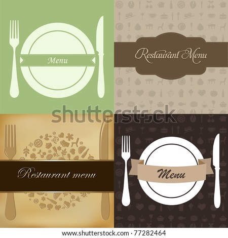 Restaurant Menu Set, Vector Illustration