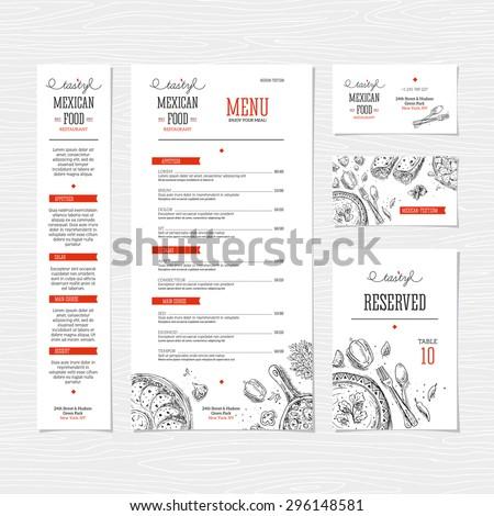 Restaurant menu template. Cafe identity. Vector illustration