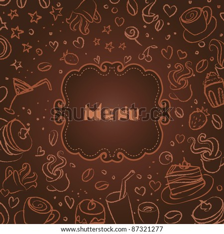 Restaurant menu with coffee scribble background - stock vector