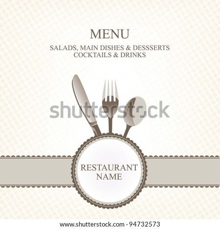 restaurant menu with flatware (knife, spoon, fork)