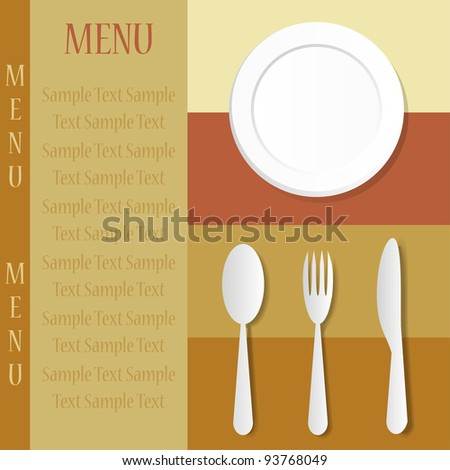 Restaurant menu with knife, spoon, fork and plate - stock vector