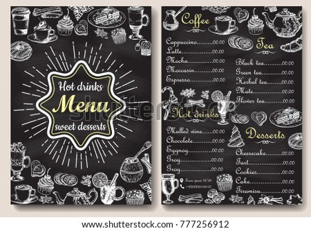 Restaurant or cafe hot drinks and sweet desserts menu design. Vector hand drawn style A4 format front and back sides chalkboard menu template.