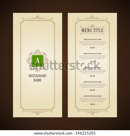 Restaurant or cafe menu vector design template vintage style Flourishes calligraphic